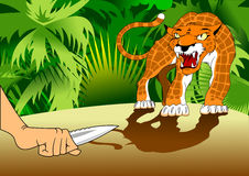 Hunting leopard. Hunter with a knife in his hand protected by a ferocious leopard Royalty Free Stock Photo