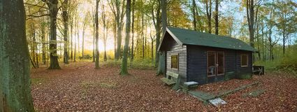 Hunting lodge in the protected landscape Naturwald Busdorf in Mecklenburg-Vorpommern, Germany Stock Photo