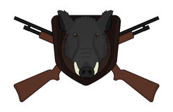 Hunting logo boar head with shotguns. Hunting trophy. Stuffed taxidermy wild boar head with big tusks in wood shield. 2 crossed shotguns. Color illustration  on Stock Images