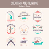 Hunting Logos. Hunting club label collecton made in . Shooting, prey, gun, antler, hunting dog, duck, taret, armore elements and labels design Royalty Free Stock Image