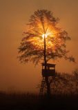 Hunting observatory. Sun rises over hunting observatory Royalty Free Stock Photography
