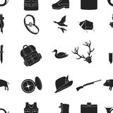 Hunting pattern icons in black style. Big collection of hunting vector symbol stock illustration Stock Photography