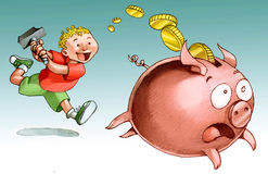 Hunting for the piggy bank Royalty Free Stock Photos