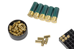 Hunting and pistol cartridges isolated on white background Royalty Free Stock Photo