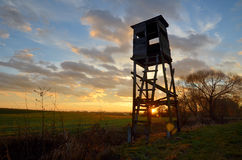 Hunting pulpit at sunset Stock Images