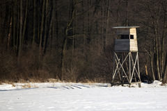 Hunting pulpit in winter Stock Image