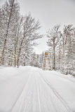 Hunting pulpit in winter forest. Royalty Free Stock Photo