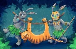 Hunting Rabbits Royalty Free Stock Images