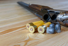 Hunting rifle and ammunition Royalty Free Stock Photo