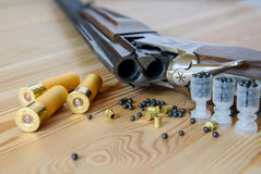 Hunting rifle and ammunition Stock Photos