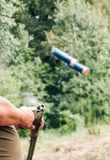Hunting rifle barrel two cartridges take shot royalty free stock images
