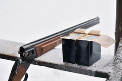Hunting rifle and bullets Royalty Free Stock Photography