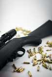 Hunting Rifle with Bullets Stock Photo