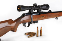 The hunting rifle, calibre 308win. Possesses the big destructive power and is intended for hunting for large wild animals Stock Photo