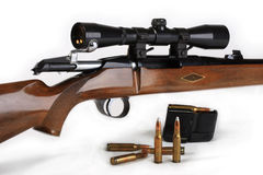 The hunting rifle, calibre 308win (2). The hunting rifle, calibre 308win, possesses the big destructive power and is intended for hunting for large wild animals stock photography