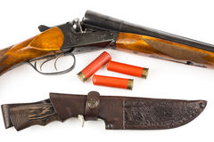 Hunting rifle with cartridges and knife in case Stock Photos