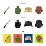 Hunting rifle, flask in the case, map, African mask. African safari set collection icons in cartoon,black,flat style. Vector symbol stock illustration Stock Photography