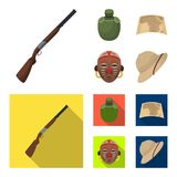 Hunting rifle, flask in the case, map, African mask. African safari set collection icons in cartoon,flat style vector. Symbol stock illustration Royalty Free Stock Photo