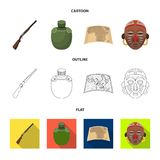 Hunting rifle, flask in the case, map, African mask. African safari set collection icons in cartoon,outline,flat style. Vector symbol stock illustration Stock Images