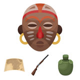 Hunting rifle, flask in the case, map, African mask. African safari set collection icons in cartoon style vector symbol Royalty Free Stock Photography
