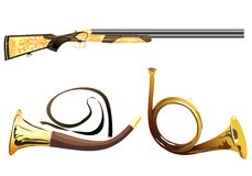 Hunting rifle and a hunting horn. Stock Photos