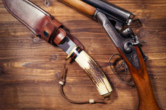 Hunting rifle and knife Royalty Free Stock Photo