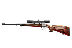 Hunting rifle with scope isolated Stock Image