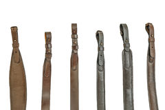 Hunting rifle sling. Six items close up. Hunting rifle sling isolated background Stock Photo
