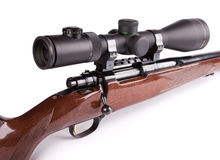 Hunting rifle. Studio shot of hunting scoped rifle. 2.5-10 x 50 optic and caliber 22-250 Stock Image