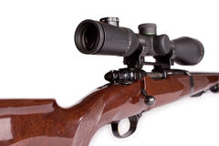Hunting rifle. Studio shot of hunting scoped rifle. 2.5-10 x 50 optic and caliber 22-250 Stock Photo