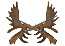 Hunting rifles and antlers of elk Stock Photos