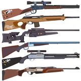 Hunting rifles, vector set in flat style design. Vector set of hunting rifles isolated on white background, flat style design Stock Photos