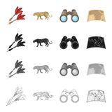 Hunting, safari, Africa, and other web icon in cartoon style. Leopard, animal, beast, icons in set collection. Hunting, safari, Africa, and other  icon in Stock Photography