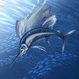 Hunting sailfish. The sailfish hunting in the deep sea royalty free illustration