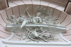 Hunting scene allegory bas relief decoration Royalty Free Stock Photos