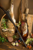 Hunting scene with fruit. Autumn still life with hunting rifle, pheasant and hare Stock Photo