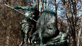 Hunting sculpture in the Great Tiergarten in Berlin, Germany stock footage