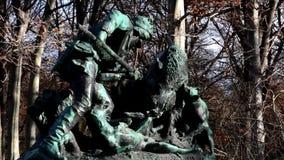 Hunting sculpture in the Great Tiergarten in Berlin, Germany stock video
