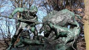 Hunting sculpture in the Great Tiergarten in Berlin, Germany stock video footage