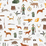 Hunting seamless pattern. Dog hunting, equipment. Flat style Stock Photo
