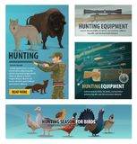 Hunting season animal and bird, hunter ammunition. Hunting sport season, animals and birds, hunter equipment and weapon. Vector rifle, shotgun and wolf, goose stock illustration