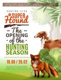 Hunting Season Opening Poster. Opening of season in hunting club information poster with fox and greyhound, bushes and trees vector illustration Stock Photo