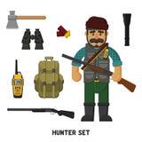 Hunting. A set of hunter items. Vector illustration, flat, cartoon style Stock Photo