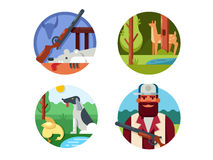 Hunting set icons Royalty Free Stock Photos