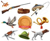 Hunting set. Shotgun, dog, duck, fishing, horn, hat, knife. vector icon. Hunting set. Shotgun, dog and duck, fishing, horn, hat and knife. 3d vector icon royalty free illustration