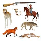 Hunting set vector vector illustration