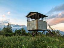 Hunting shelter during the sunset, Pyrenees, Canigou massif, France royalty free stock images
