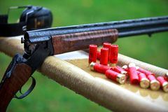 Hunting shotgun with bullets Royalty Free Stock Image