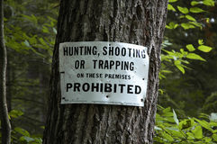 Hunting sign. A sign stating: hunting shooting or trapping prohibited royalty free stock photo