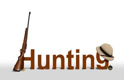 Hunting Sign with Rifle and Hat. Over White Royalty Free Stock Photography
